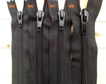 Skirt pants Ribbon and mesh black nylon zipper with spiral number 3 / 5 / 7 / 8