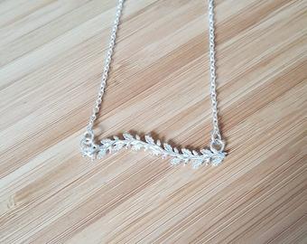 Silver oak bar necklace, silver branch necklace, silver leaf necklace, silver leaves necklace, leafy silver necklace, silver necklace