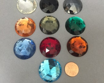Vintage Glass Jewels. NOS. 30mm. Sold by 1 piece or 6 pieces.