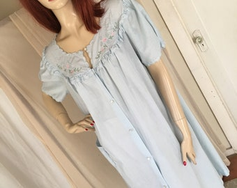 Vintage 1950s 1960s Baby Blue Barbizon Housedress Lightweight Cotton Blend Floral Detail One Size or M/L