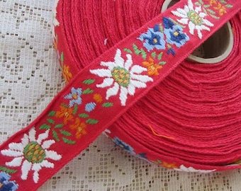 "2 Yards Hungary Embroidered Jacquard Trim 1"" Wide Folk Costume Trim Red White Blue Orange Green  HFT 53"