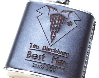 Personalised Best Man Leather Hip Flask - Engraved Leather - Gift For Him - Wedding Thank You Gift - Usher - Best Man - Groom - Groomsman
