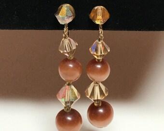 Vintage Brown Topaz Moonglow Rhinestone Dangle Earrings
