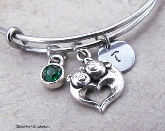 Two Pigs Heart Bangle Personalized Hand Stamped Initial Birthstone Antique Silver Two Pigs Charm Stainless Steel Expandable Bangle Bracelet