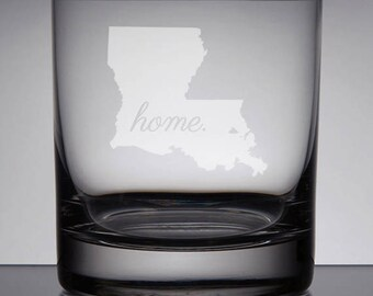 Louisiana Glass, Etched Whiskey Glass, Sandblasted Bourbon Glass, Home State Glass, Lowball Glass, Etched Glass, Rocks Glass, Engraved Gift