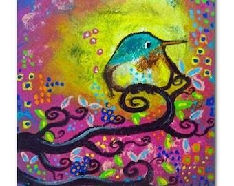 Bird I~Pink Morning Original Art Tile Coaster