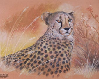 A4 size- WILDLIFE Artwork Realistic CHEETAH Chalk Pastel DRAWING peach yellow orange black Gift Nature tree Autumn grass Africa pattern cats