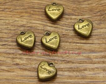 50pcs Heart Charms Tiny Mini Heart 3D Bulk Charms Love Word Charm Antique Brozne Tone 12x13mm cf2247
