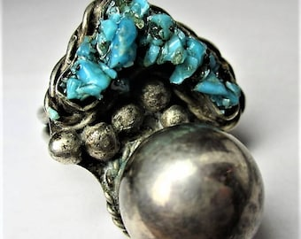 Free Shipping Size 9.75 Sterling Silver Vintage Artisan SOUTHWEST BLUE TURQUOISE Ball Ring R19