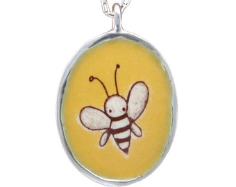 Bee Necklace and Flower Necklace - Reversible Bee Pendant