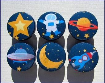 Space Knobs • Astronaut Dresser Knobs • Space • Rocket • Astronaut • Moon • Dresser Knobs • Children's Dresser Knobs • Drawer Knobs