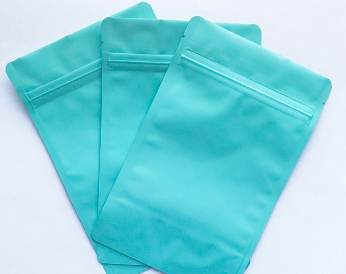 100-MATTE TURQUOISE Stand Up Pouches, Choose from 2 Sizes, Heavy Duty 5.4mil, Tear Notch, Impulse + Zipper Seal, Two Wild Hares