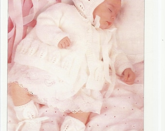 lillb   vintage baby knitting pattern for stunning  mattinee set jacket hat booties