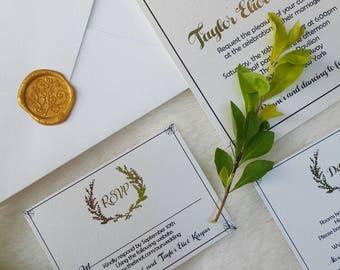 Wedding Invitations, , wax seal, golden invitations, seal invitations, elegant invitations,