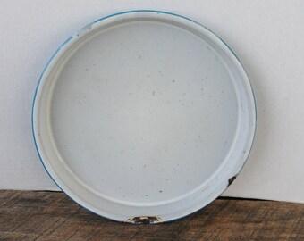 Vintage Blue Splatter Enamelware Cake Baking Pan