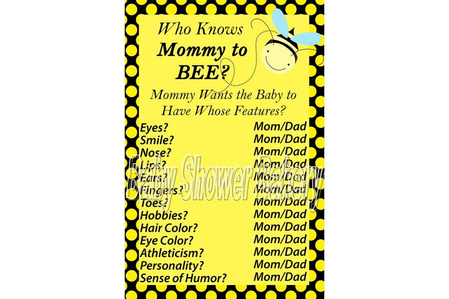 Baby Shower Game Bumble Bee Printable