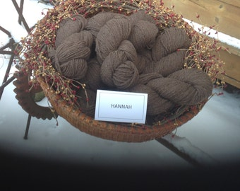Hannah's light brown worsted weight Cormo x yarn