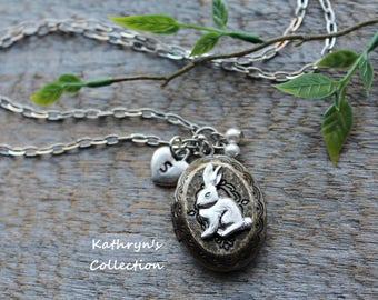 Bunny Rabbit Locket, Rabbit Jewelry, Bunny Necklace, Pet Rabbit, Pet Jewelry, Loss of pet Rabbit, Easter Bunny