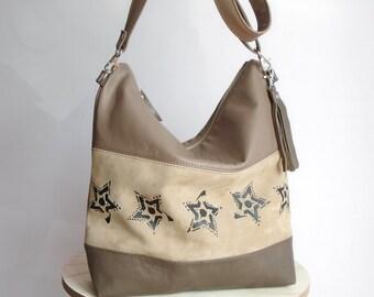 Leather hobo bag stars, crossbody bag with three colors, messenger bag genuine leather, beige large shoulder handbag, tote bag suede leather
