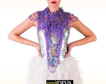 Beaded Crystal Necklace - Collar Cadenilla, Bead necklace, beaded necklace, crystal necklace, pearl necklace, perlenhalsschmuck, halsschmuck