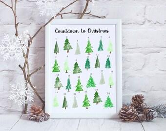 DIY Advent Calendar - Printable Advent Calendar - Countdown to Christmas - Christmas Tree Advent Calendar - Reusable Calendar - Instant PDF