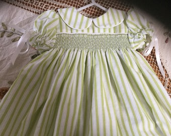Hand made new smocked dress size 6-12months or size 1yr
