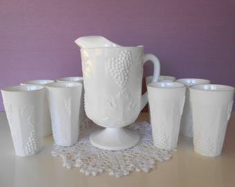 White Milk Glass Pitcher & 8 Tumblers Colony Harvest Indiana Glass / Raised Grape and Leaves Pattern / Pitcher Set / Vintage Beverage Set