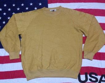 Pull Montant ski brand yellow gold stripes sweatshirt XLarge