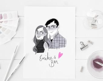 Custom digital couple sketch, print yourself, cartoon sketch, anniversary gift, black and white, custom digital sketch, couple portrait,