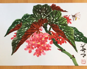 Original Chinese Painting-Flower and Insect (Begonia and Bee)