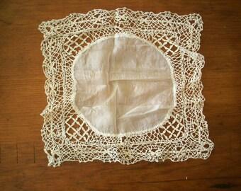 Maltese lace wedding handkerchief silk