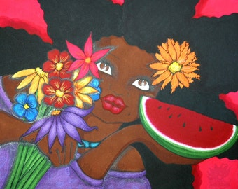 Print:11X14 16x20 20x30 OFFER YOUR BEST Affirmation Natural Hair by karin turner KarinsArt  watermelon  african american flowers