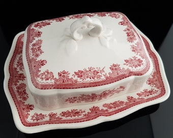 Vintage Butter Dish, Red and White Porcelain, VILLEROY & BOCH, Pheasant Theme