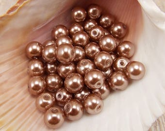 8mm Glass Pearls - Brown - 50 pieces