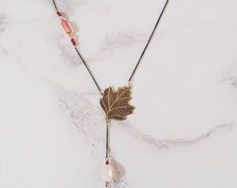 Sycomore leaf necklace, pink gemstones, brass leaf, nature art nouveau style, Leaf-Life collection