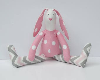 Pink Gray Bunny Easter Bunny toy Stuffed bunny rabbit hare plush bunny doll polka dot chevron softie stuffed toy baby room nursery decor