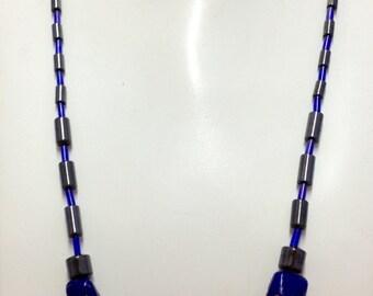 Hematite & blue beaded neclace + earring set