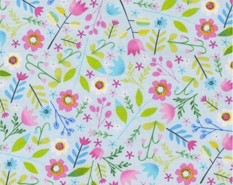 Sky Spring Flowers Cotton Fabric from Timeless Treasures
