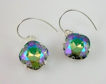 Swarovski Paradise Shine 12mm Cushion Cut Crystal Earrings Sterling Silver