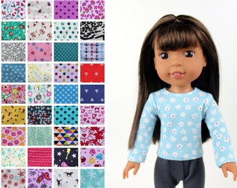 Fits like Wellie Wishers Doll Clothes - Long Sleeve Tee, You Choose Print   14.5 Inch Doll Clothes