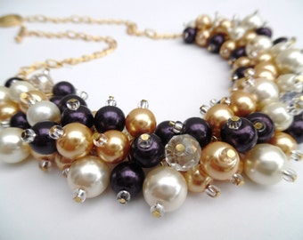 Aubergine Pearl Necklace, Bridesmaids Gift, Dark Purple Ivory Gold, Pearl Wedding Jewelry, Chunky Necklace, Cluster Statement Necklace, Gift