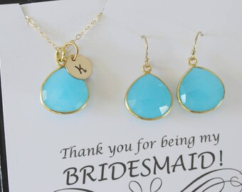 6 Blue Initial Bridesmaid Necklace and Earring set, Bridesmaid Gift, Light Blue Chalcedony, 14k Gold Filled, Monogram Jewelry, Personalized