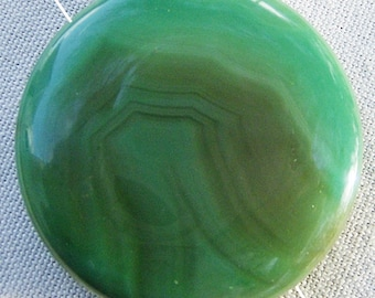 Agate Focal Bead/Cabochon - Fantastic Banded Green from JewelryArtistry - GC454