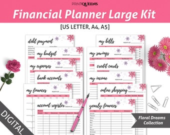 Financial Planner Inserts, Financial Printables, Budget Planner Printable, Budget Binder, Finance Planner, Finance Binder, A5/A4/US Letter
