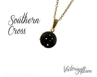 Southern Cross Constellation Necklace, Tiny Vintage Locket - Hand Painted - Brass Chain, Celestial