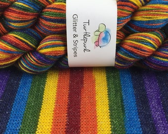 Om - Hand-Dyed Self-Striping Glitter Sock Yarn
