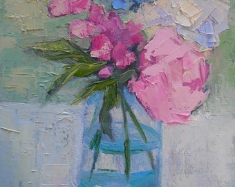 """Floral Oil Painting, Flower Still Life, Free Shipping in USA, Pink and Blue Flowers, 6x8"""" Oil Painting, Palette Knife Painting,"""