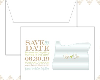 State Save the Date Oregon (available in all U.S. states), Custom state save the date, We're getting married in this state, Oregon Wedding