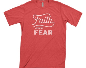 Faith Over Fear Christian Worship Hillsong United Screen Printed Grey Heather T-Shirt Motivational