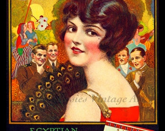 Egyptian Deities Cigarettes Vintage 1920s Ad - Beautiful Flapper in Red - Giclee Art Print - Cigarettes Poster - Smoking Glamour Art